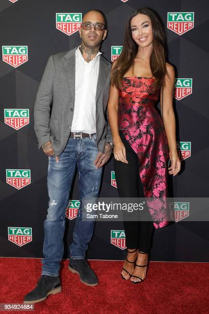 Sam Gobeo and Laurina Fleure attends the TAG Heuer Grand Prix Party on March 20 2018 in Melbourne Australia
