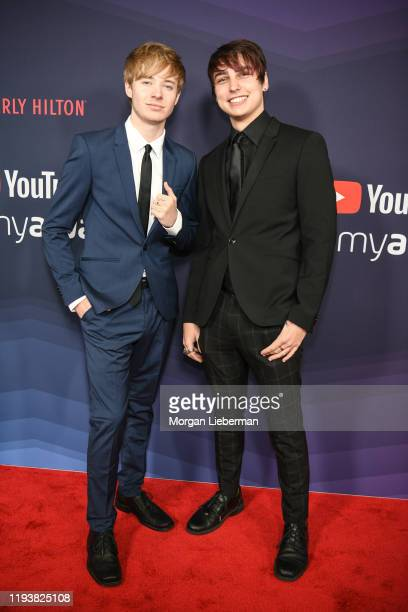 Sam Golbach and Colby Brock arrive at the 9th Annual Streamy Awards at The Beverly Hilton Hotel on December 13 2019 in Beverly Hills California