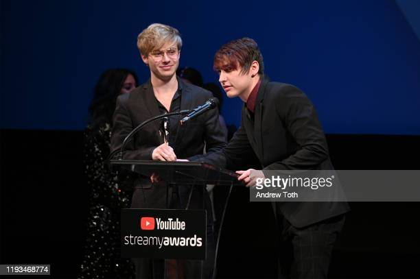 Sam Golbach and Colby Brock attend the 2019 Streamys Premiere Awards at The Broad Stage on December 11 2019 in Santa Monica California