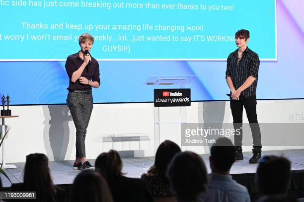 Sam Golbach and Colby Brock attend the 2019 Streamys Social Good Awards at YouTube Space LA on December 09 2019 in Los Angeles California
