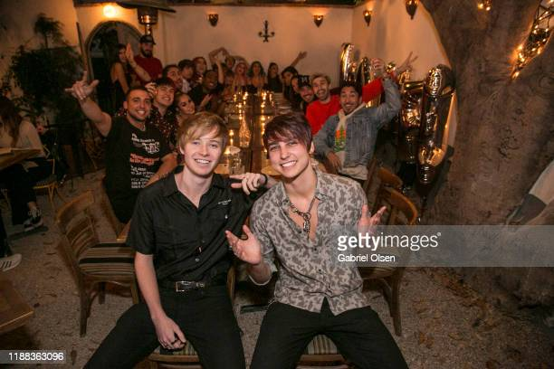 Sam Golbach and Colby Brock attend the MetaLife Launch Influencer Dinner at Bacari W 3rd on November 17 2019 in Los Angeles California
