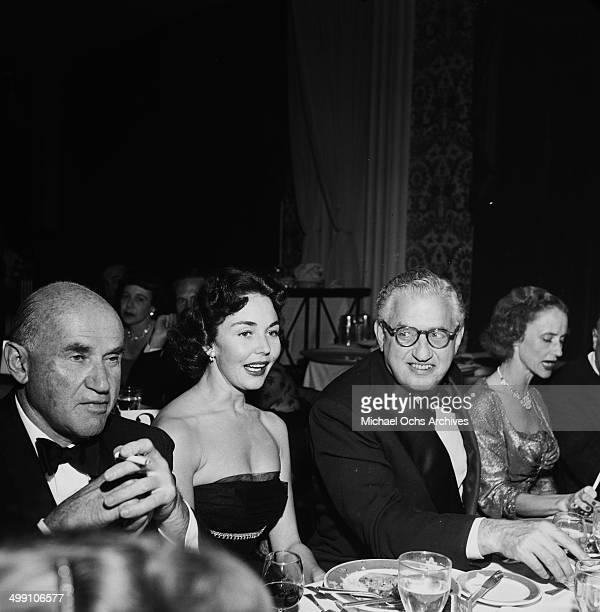 Sam Goldwyn Jennifer Jones and David OSelznick attend a dinner in Los Angeles California