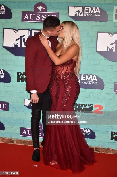 Sam Gowland and Chloe Ferry attend the MTV EMAs 2017 at The SSE Arena Wembley on November 12 2017 in London England
