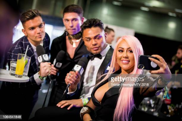 Sam Gowland Joey Essex Nathan Henry and Sophie Kasaei during the MTV EMAs 2018 at Bilbao Exhibition Centre on November 04 2018 in Bilbao Spain