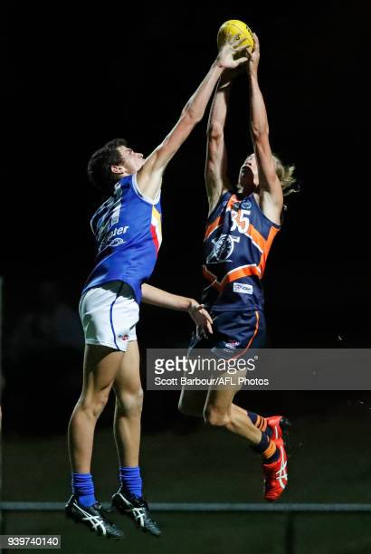 Sam Graham of the Calder Cannons competes for the ball during the round two TAC Cup match between Calder and Eastern Ranges at RAMS Arena on March 29...