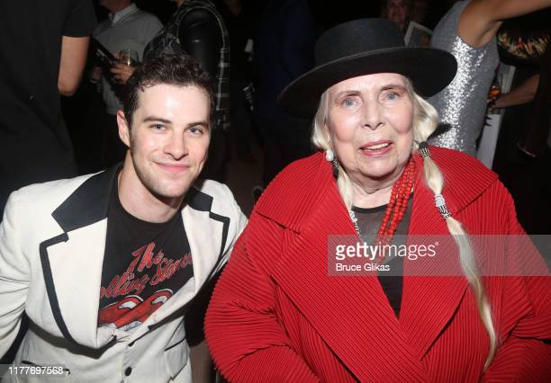 """Sam Gravitte and Joni Mitchell pose at the opening night of the new musical """"Almost Famous"""" at The Old Globe Theatre on September 27, 2019 in San..."""