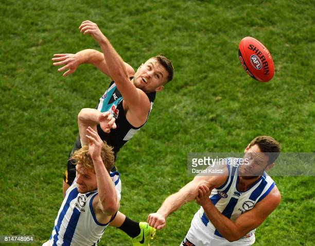 Sam Gray of the Power competes for the ball during the round 17 AFL match between the Port Adelaide Power and the North Melbourne Kangaroos at...