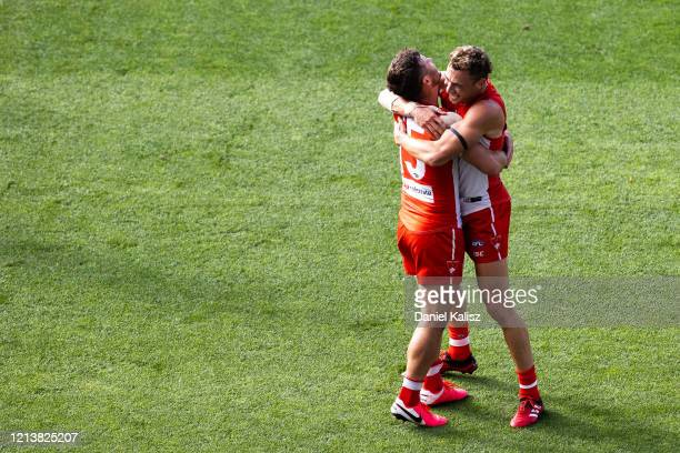 Sam Gray of the Sydney Swans celebrates after kicking a goal during the round 1 AFL match between the Adelaide Crows and the Sydney Swans at Adelaide...