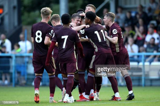 Sam Greenwood of Leeds United celebrates with Joseph Gelhardt and teammates after scoring their side's second goal during the Pre-Season Friendly...