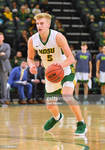 Sam Griesel of the North Dakota State Bison looks to drive against the Omaha Mavericks during their game at Scheels Center on February 23 2019 in...