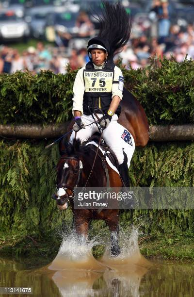 Sam Griffiths of Australia riding Happy Times as they compete in the cross country stage during day three of the Badminton Horse Trials on April 24,...