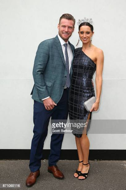 Sam Groth and Brittany Boys poses at the Kennedy Marquee on Melbourne Cup Day at Flemington Racecourse on November 7 2017 in Melbourne Australia