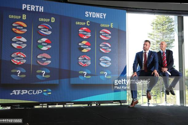 Sam Groth and Geoff Masters look on during the 2020 ATP Cup Draw at Fraser's Kings Park on September 16 2019 in Perth Australia