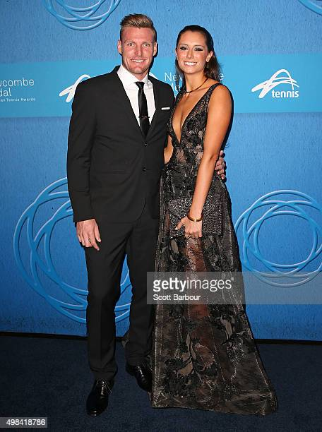 Sam Groth and girlfriend Brittany Boys arrive at the 2015 Newcombe Medal at Crown Palladium on November 23 2015 in Melbourne Australia