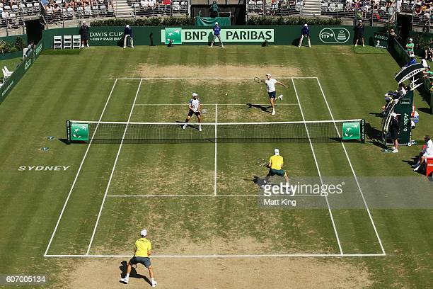 Sam Groth and John Peers of Australia play in the doubles match against Andrej Martin and Igor Zelenay of Slovakia during the Davis Cup World Group...