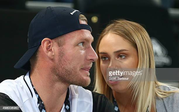 Sam Groth and Tully Smyth watch from the crowd during the round seven NBL match between Melbourne United and the Townsville Crocodiles at Hisense...