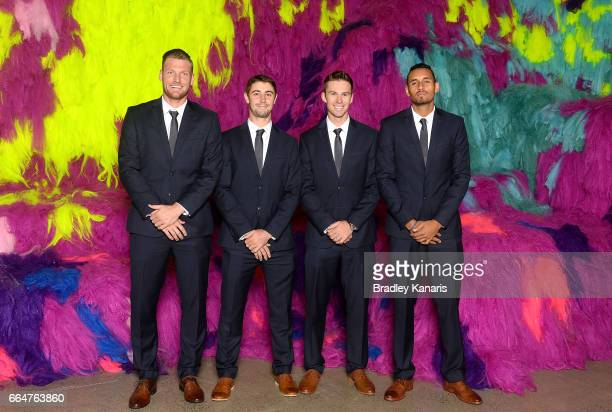 Sam Groth Jordan Thompson John Peers and Nick Kyrgios of Australia pose for a photo before the official dinner at GOMA ahead of the Davis Cup World...
