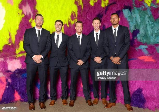 Sam Groth Jordan Thompson Lleyton Hewitt John Peers and Nick Kyrgios of Australia pose for a photo before the official dinner at GOMA ahead of the...
