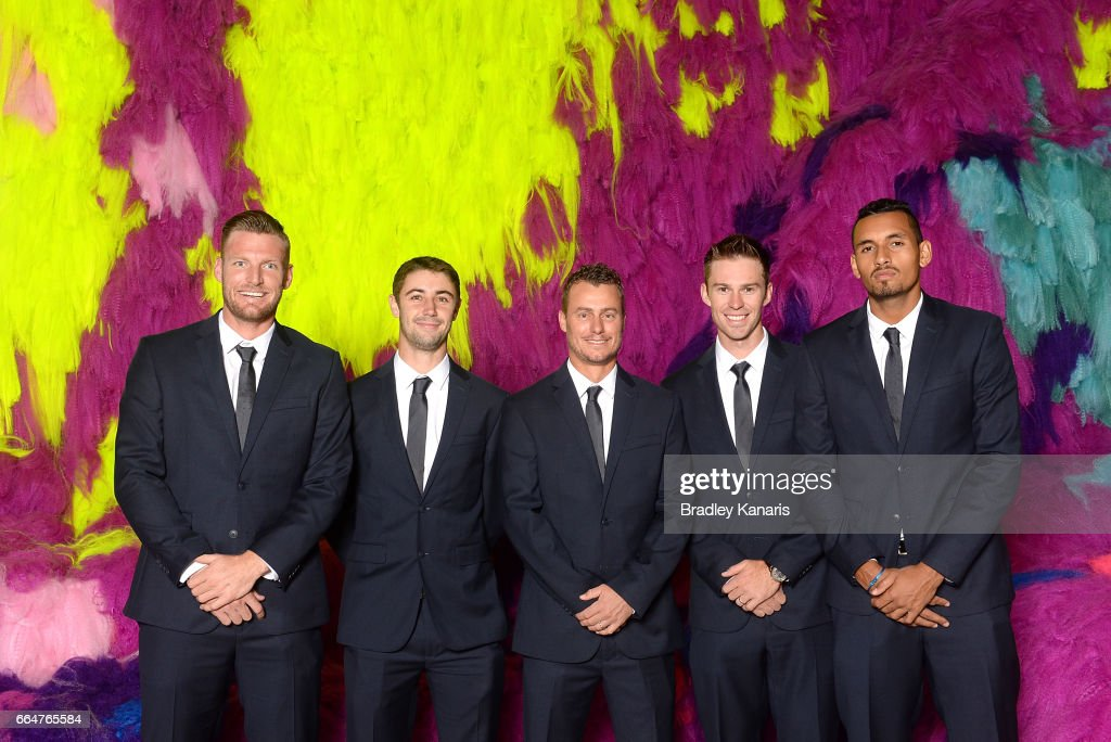 Sam Groth, Jordan Thompson, Lleyton Hewitt, John Peers and Nick Kyrgios of Australia pose for a photo before the official dinner at GOMA ahead of the Davis Cup World Group Quarterfinal match between Australia and the USA on April 5, 2017 in Brisbane, Australia.