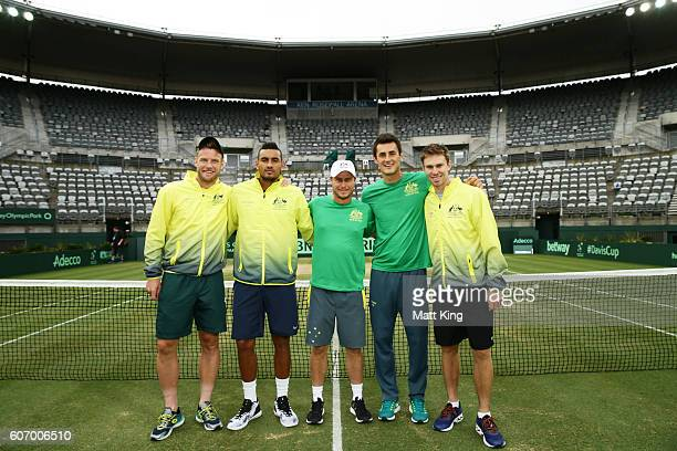 Sam Groth Nick Kyrgios Bernard Tomic and John Peers of Australia with captain of Australian Lleyton Hewitt pose after winning the Davis Cup World...