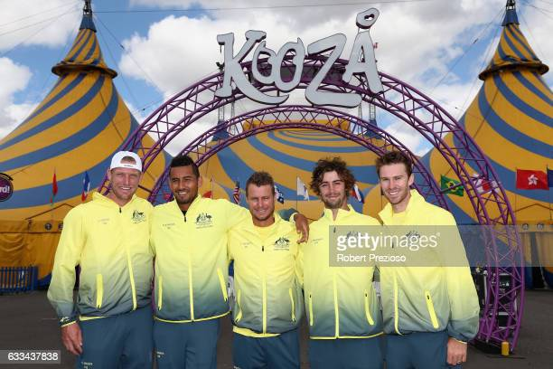 Sam Groth Nick Kyrgios captain Lleyton Hewitt Jordan Thompson and John Peers of Australia pose for photos during the official draw ahead of the Davis...