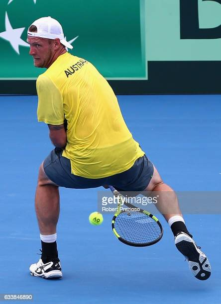 Sam Groth of Australia competes in his singles match against Jiri Vesely of Czech Republic during the first round World Group Davis Cup tie between...