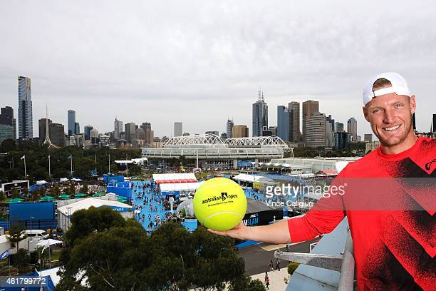 Sam Groth of Australia poses for photo on the roof top of Hisense Arena during the 2015 Australian Open at Melbourne Park on January 20, 2015 in...