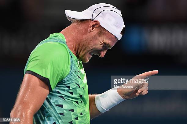 Sam Groth of Australia reacts in his match against Hyeon Chung of South Korea on day two of the 2016 Brisbane International at Pat Rafter Arena on...