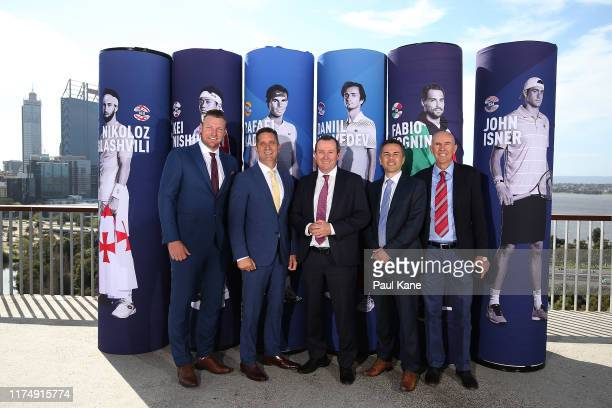 Sam Groth Paul Papalia Mark McGowan Michael Roberts and Geoff Masters pose during the 2020 ATP Cup Draw at Fraser's Kings Park on September 16 2019...