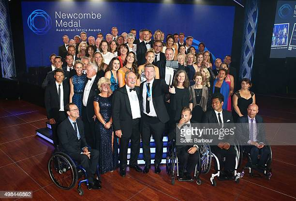 Sam Groth winner of the Newcombe Medal and John Newcombe take a selfie as they pose on stage at the 2015 Newcombe Medal at Crown Palladium on...