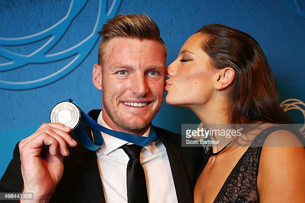 Sam Groth winner of the Newcombe Medal is kissed by his girlfriend Brittany Boys at the 2015 Newcombe Medal at Crown Palladium on November 23 2015 in...