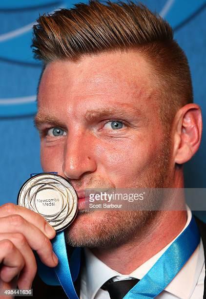 Sam Groth, winner of the Newcombe Medal poses with the medal at the 2015 Newcombe Medal at Crown Palladium on November 23, 2015 in Melbourne,...