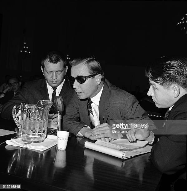 Sam H. Bowers a Laurel, Mississippi, vending machine operator, and his attorney, Travis Buckley, are shown during Bowers' appearance before the House...