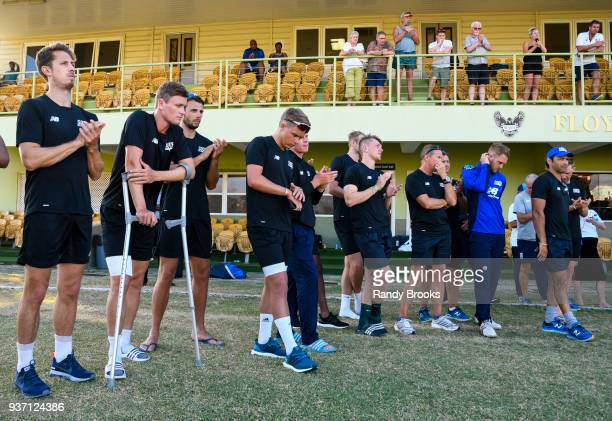 Sam Hain and South teammates at the end of the ECB North v South Series match Three at 3Ws Oval on March 23 2018 in Bridgetown Barbados