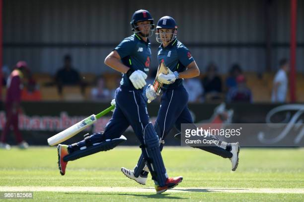 Sam Hain and Tom KohlerCadmore of England Lions run between the wickets during the TriSeries International match between England Lions v West Indies...