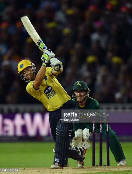 Sam Hain of Birmingham hits out ahead of Tom Moores of Notts during the NatWest T20 Blast Final between Birmingham Bears and Notts Outlaws at...