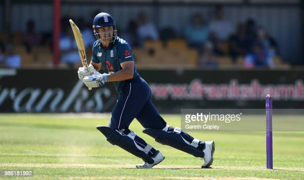 Sam Hain of England Lions bats during the TriSeries International match between England Lions v West Indies A at The County Ground on June 28 2018 in...