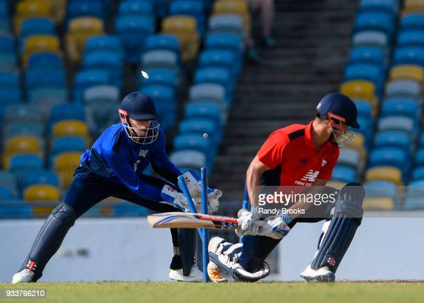 Sam Hain of North bowled by Dominic Bess of South during the ECB North v South Series match One at Kensington Oval on March 18 2018 in Bridgetown...