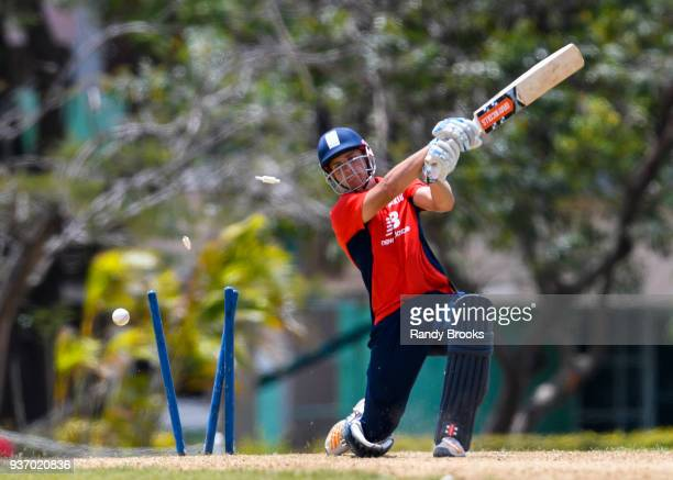 Sam Hain of North bowled by Sam Curran of South during the ECB North v South Series match Three at 3Ws Oval on March 23 2018 in Bridgetown Barbados