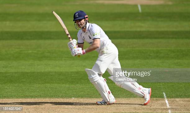 Sam Hain of Warwickshire bats during the LV= Insurance County Championship match between Warwickshire and Essex at Edgbaston on April 23, 2021 in...