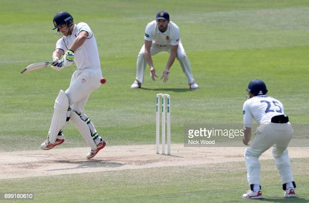 Sam Hain of Warwickshire hits out during the Essex v Warwickshire Specsavers County Championship Division One cricket match at the Cloudfm County...