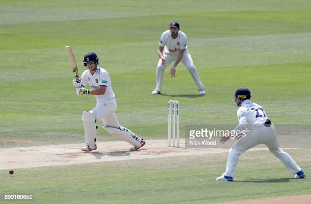 Sam Hain of Warwickshire plays a rare attacking stroke during the Essex v Warwickshire Specsavers County Championship Division One cricket match at...