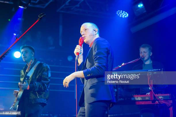 Sam Halliday Alex Trimble and Jacob Berry of Two Door Cinema Club perform live on stage at The Liquid Room on June 24 2019 in Edinburgh Scotland