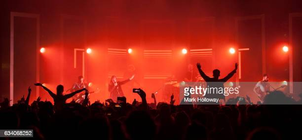 Sam Halliday Alex Trimble Benjamin Thompson and Kevin Baird of Two Door Cinema Club perform at the O2 Guildhall on February 6 2017 in Southampton...