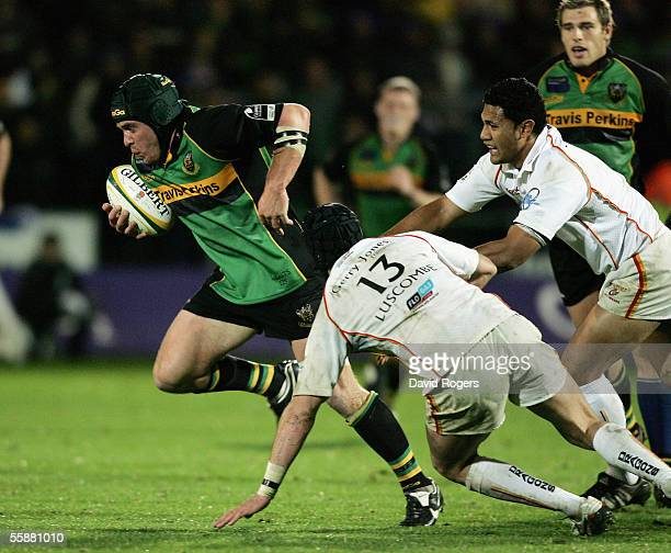 Sam Harding of Northampton charges forward during the Powergen Cup match between Northampton Saints and Newport Gwent Dragons at Franklin's Gardens...