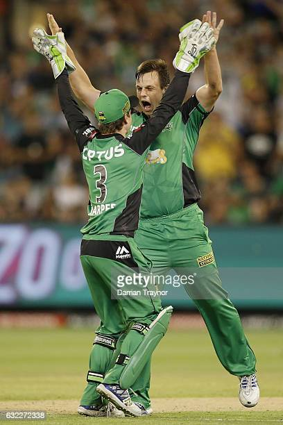 Sam Harper and Evan Gulbis of the Melbourne Stars celebrates the wicket of Daniel Hughes of the Sydney Sixers Starsduring the Big Bash League match...