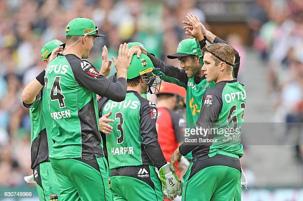 Sam Harper of the Stars is congratulated by his teammates after stumping Marcus Harris of the Renegades during the Big Bash League match between the...
