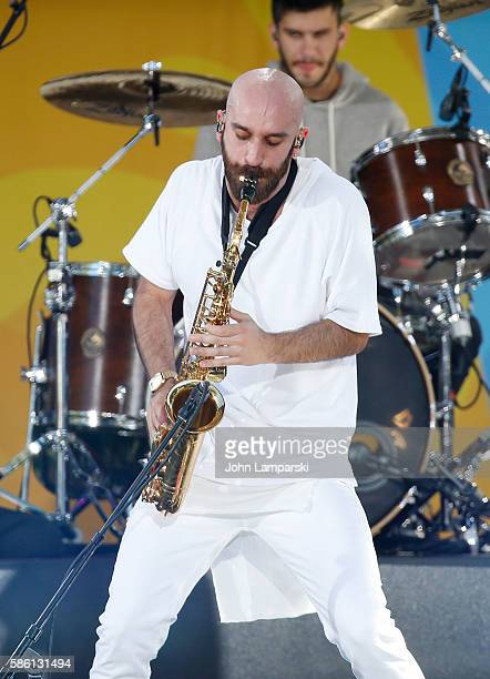 """Sam Harris of X Ambassadors performs onstage on ABC's """"Good Morning America"""" at SummerStage at Rumsey Playfield, Central Park on August 5, 2016 in..."""