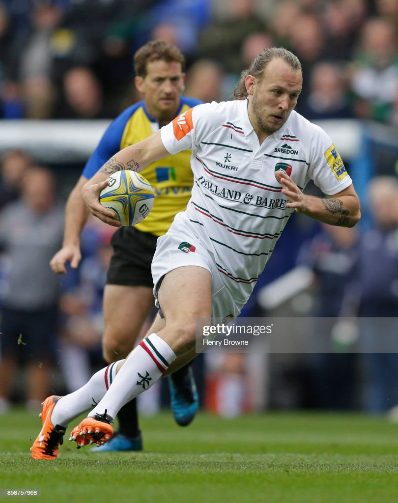 Sam Harrison of Leicester Tigers during the Aviva Premiership match between London Irish and Leicester Tigers at Madejski Stadium on October 7, 2017 in Reading, England.