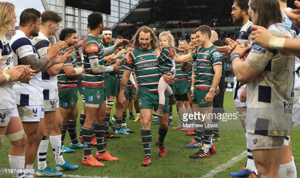 Sam Harrison of Leicester Tigers is applauded off the pitch after his last match for Leicester Tigers during the Gallagher Premiership Rugby match...